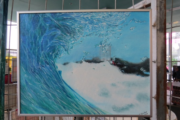 Turquoise Wave. Acrylic on 10 X 14 inch canvas board, framed.