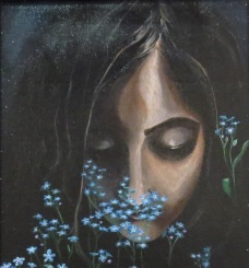Forget Me Not. Acrylic on 11 X 14 inch framed canvas board 2016 Not For Sale.