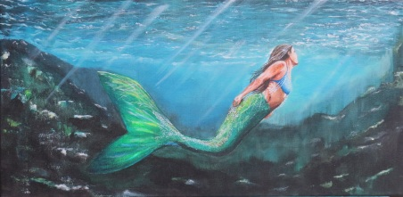 Mermaid. Acrylic on 12 X 24 inch gallery wrapped canvas. Sold.