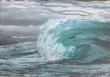 Moody Malachite. Acrylic on 10 X 14 canvas board 2016.