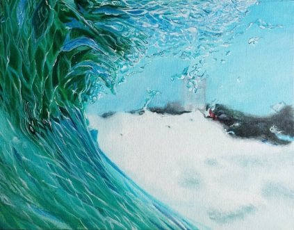 Turquoise Spray. Acrylic on 10 X 14 inch canvas board 2016.