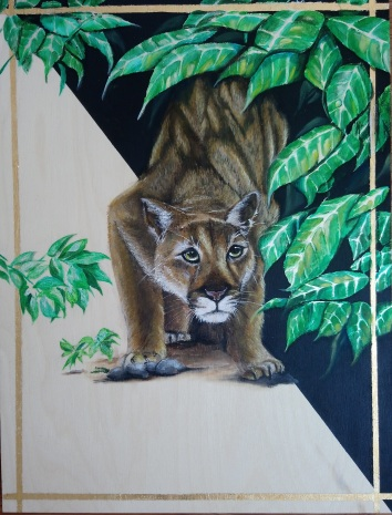 Borderlands. Acrylic and metal leaf on 18 X 24 wood panel.