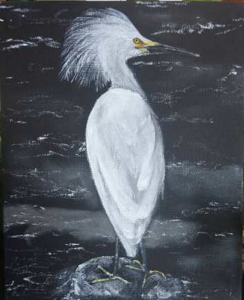 Wading for Lunch. Acrylic on 8 X 10 canvas board.