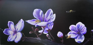 The Bees. Acrylic on 18 X 36 inch wood panel.